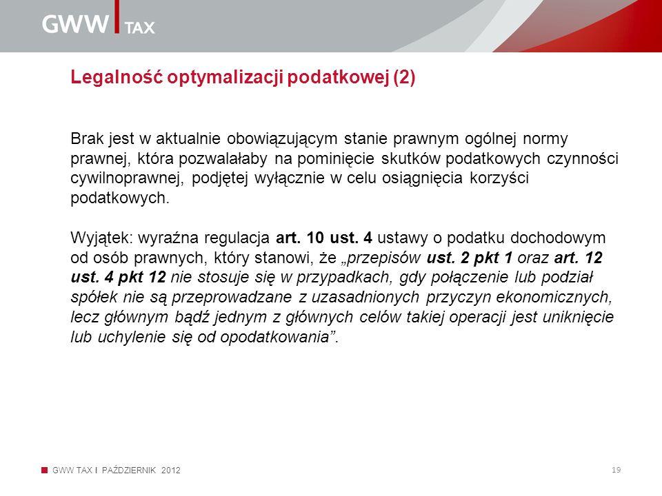 Legalność optymalizacji podatkowej (2)