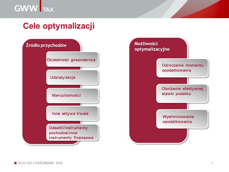 Cele optymalizacji Możliwości optymalizacyjne Źródło przychodów