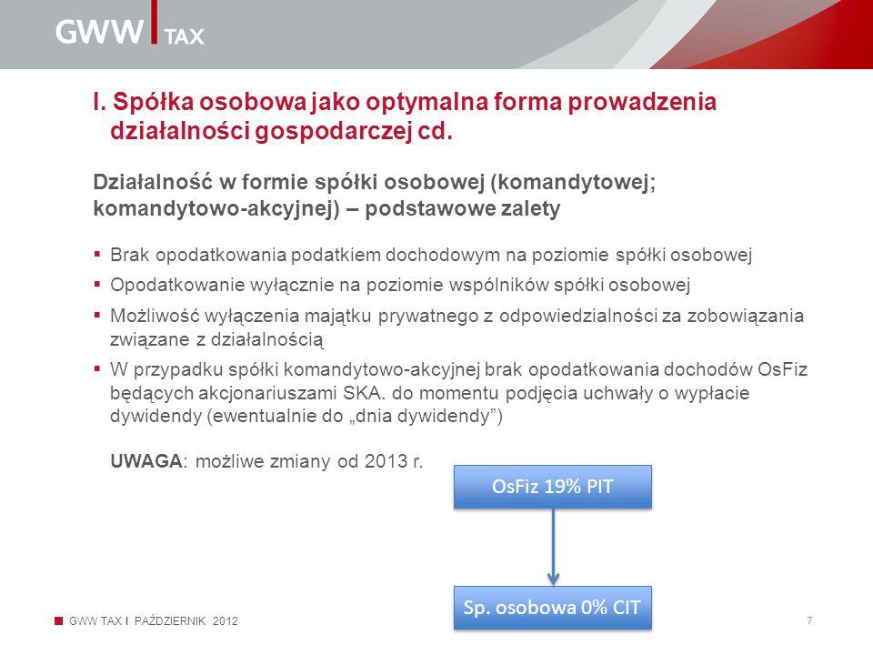 I. Spółka osobowa jako optymalna forma prowadzenia działalności gospodarczej cd.