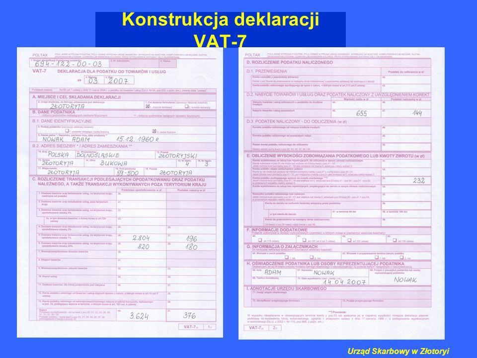Konstrukcja deklaracji VAT-7