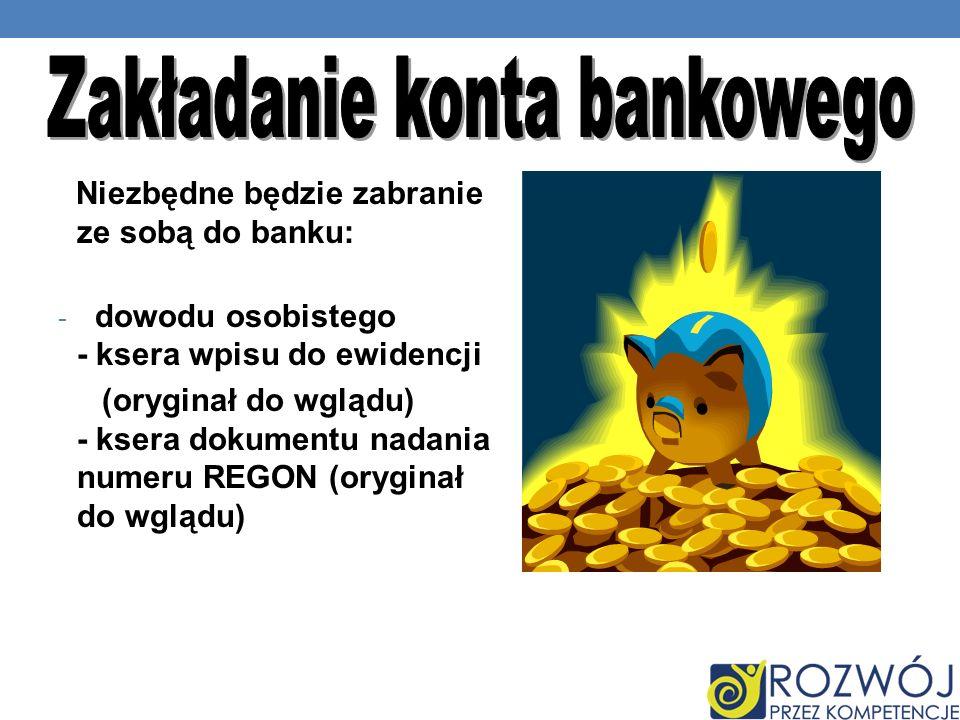 Zakładanie konta bankowego