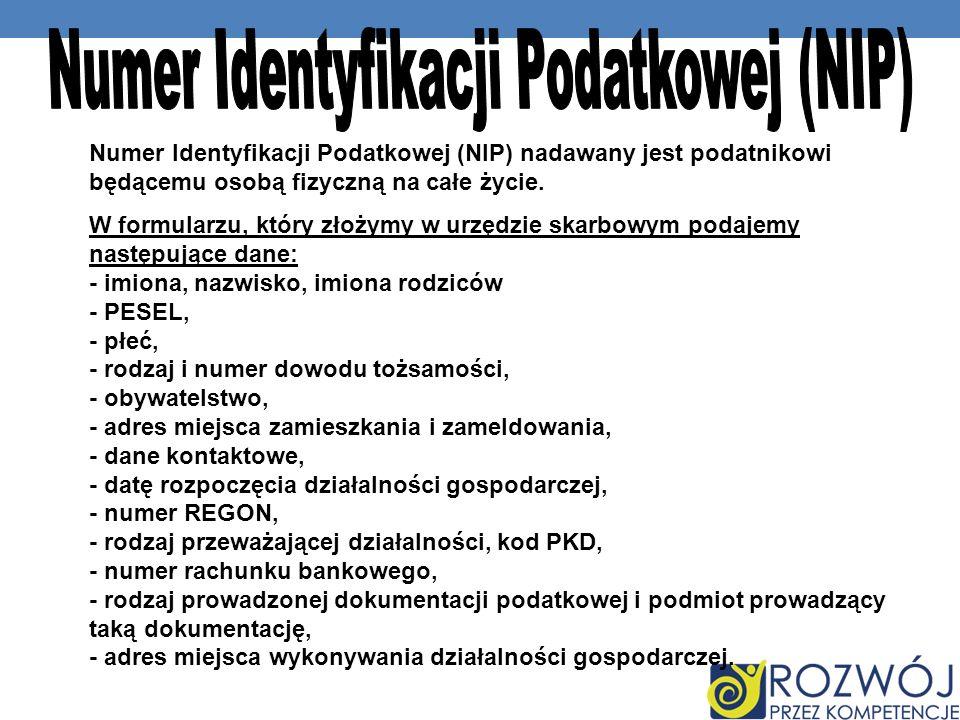 Numer Identyfikacji Podatkowej (NIP)