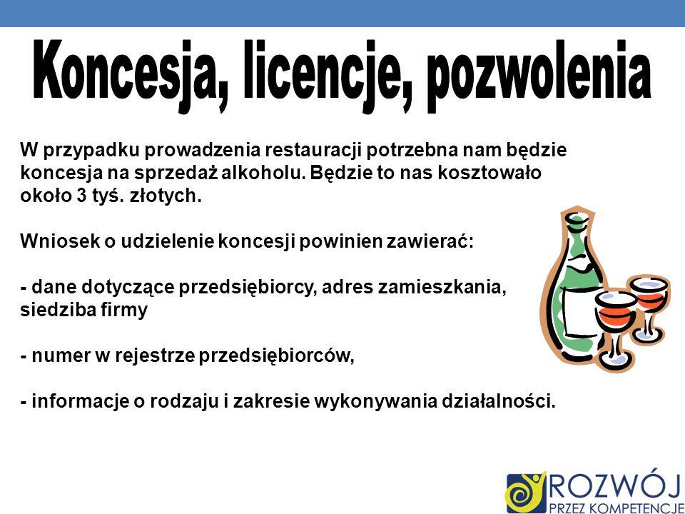 Koncesja, licencje, pozwolenia