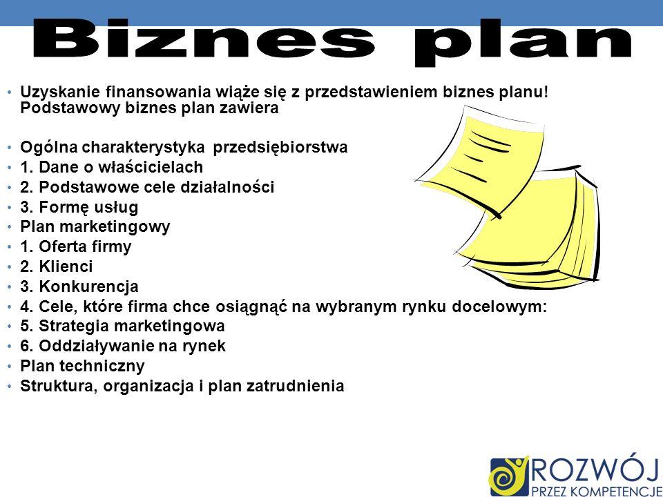 Biznes plan Uzyskanie finansowania wiąże się z przedstawieniem biznes planu! Podstawowy biznes plan zawiera.