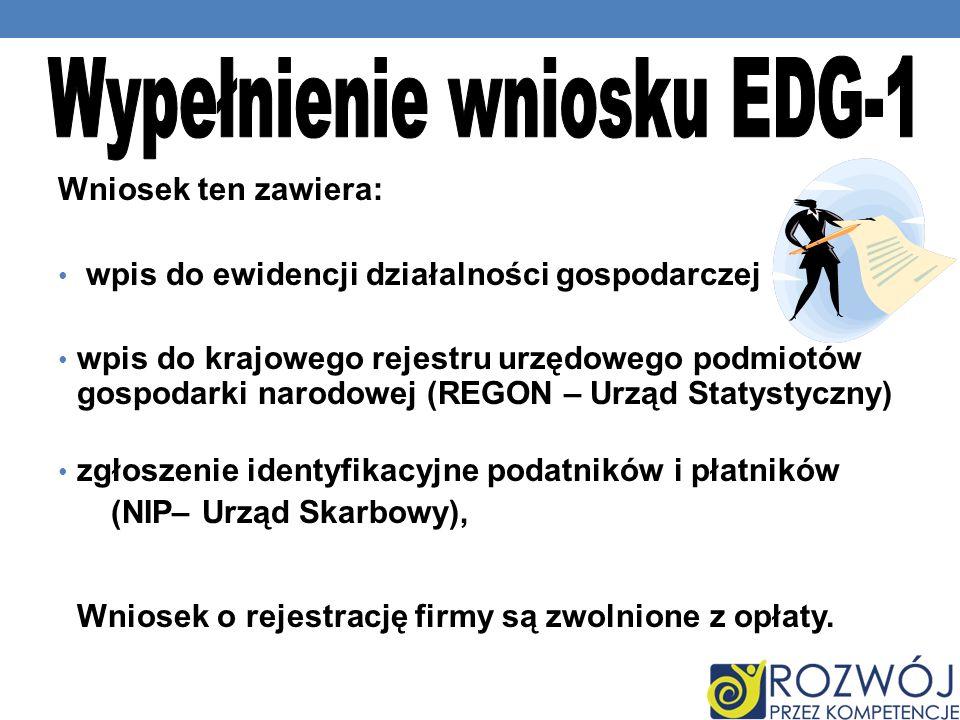 Wypełnienie wniosku EDG-1