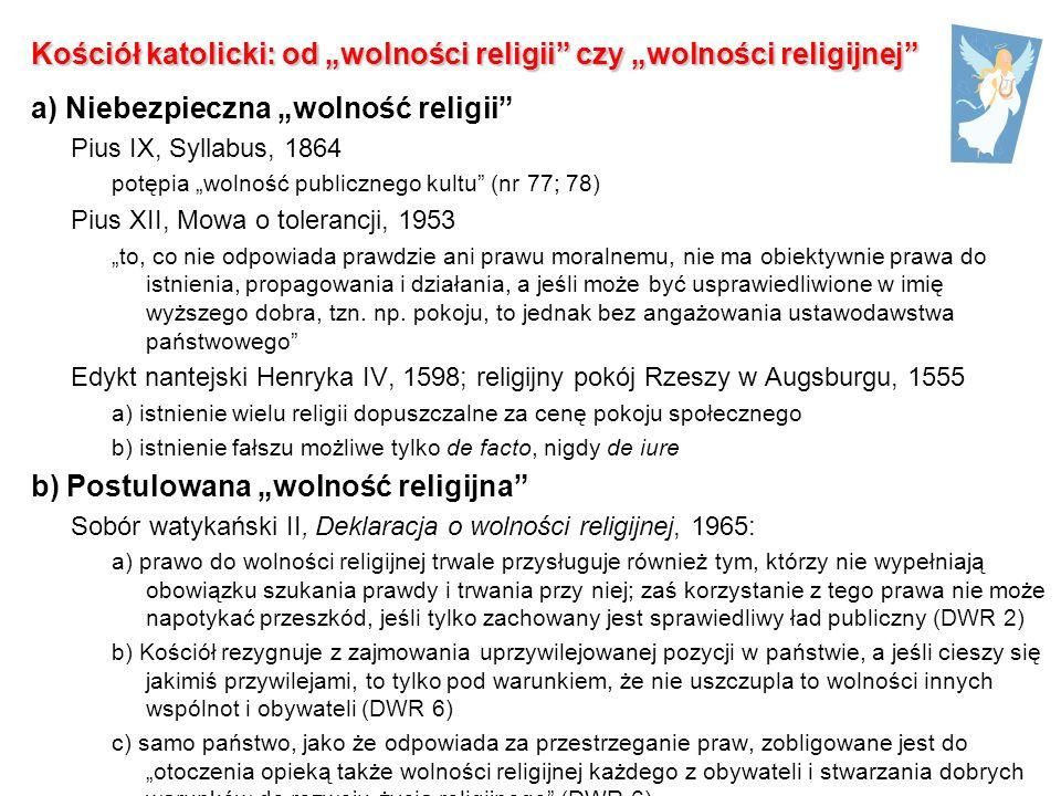 """Kościół katolicki: od """"wolności religii czy """"wolności religijnej"""