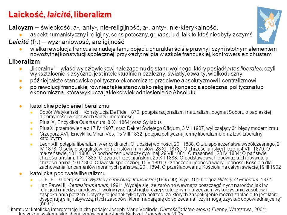 Laickość, laicité, liberalizm