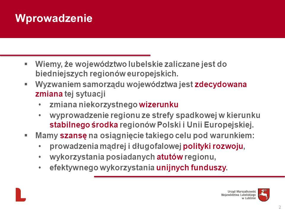 Wprowadzenie Wiemy, że województwo lubelskie zaliczane jest do biedniejszych regionów europejskich.