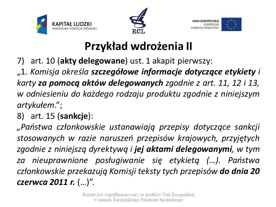 Przykład wdrożenia II art. 10 (akty delegowane) ust. 1 akapit pierwszy: