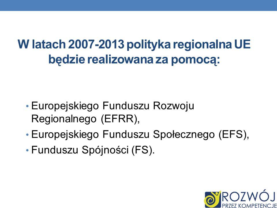 W latach 2007-2013 polityka regionalna UE będzie realizowana za pomocą: