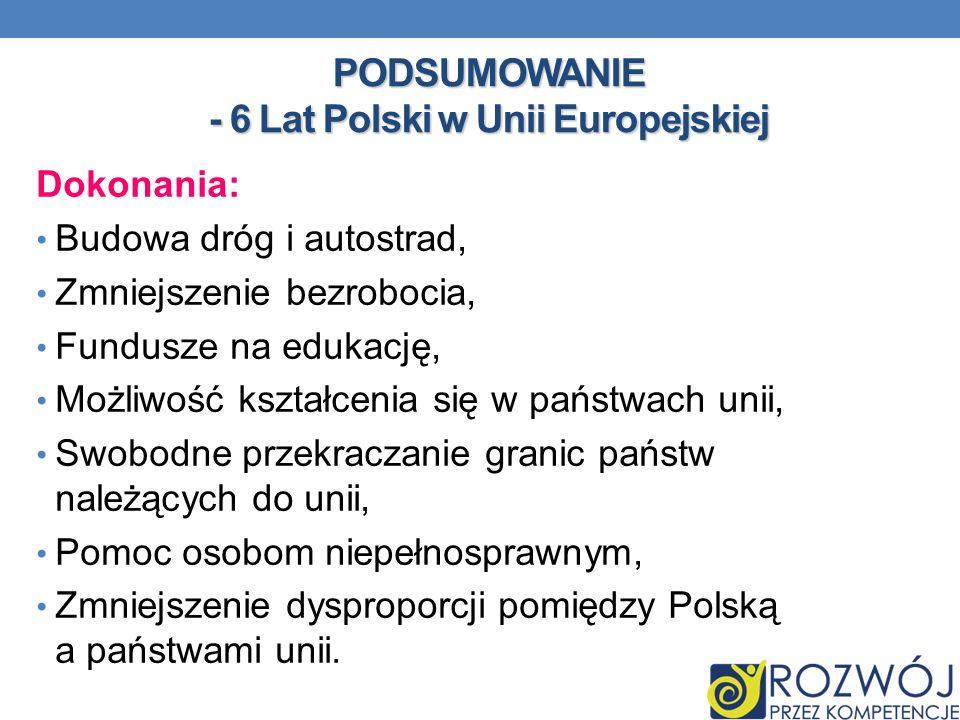 PODSUMOWANIE - 6 Lat Polski w Unii Europejskiej