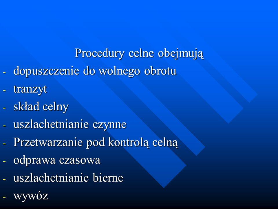 Procedury celne obejmują