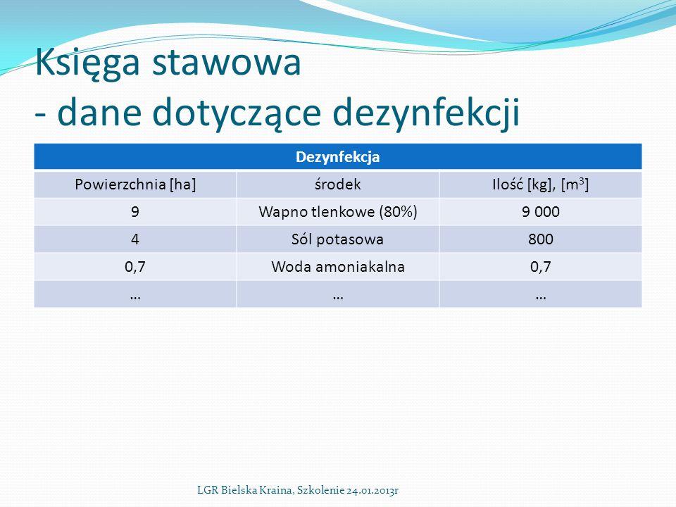 Księga stawowa - dane dotyczące dezynfekcji