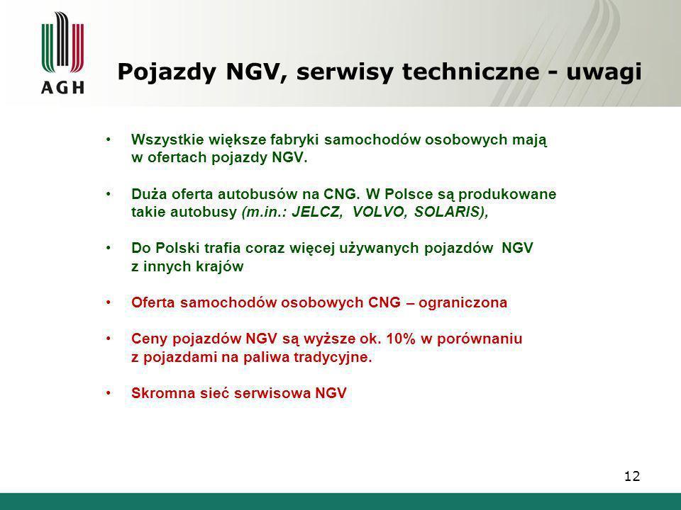 Pojazdy NGV, serwisy techniczne - uwagi