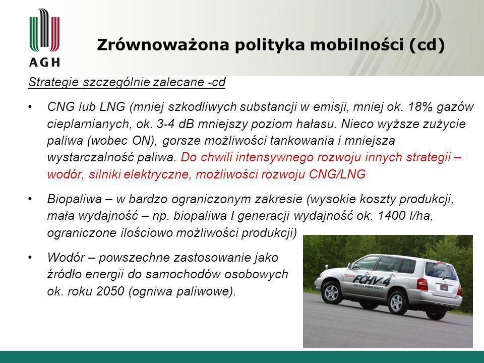 Zrównoważona polityka mobilności (cd)