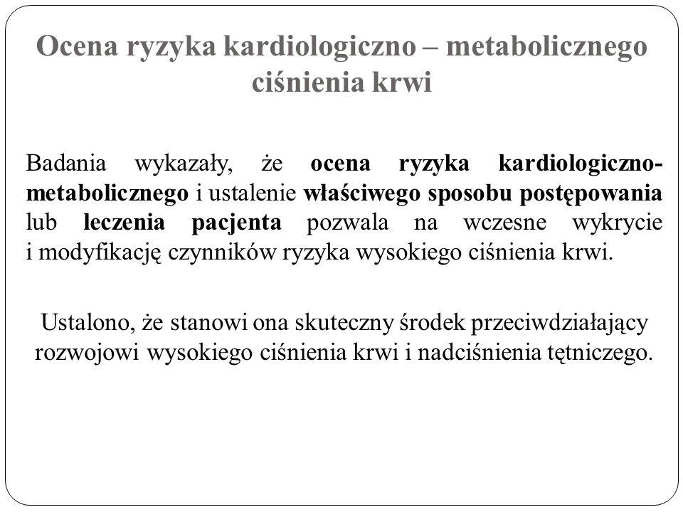 Ocena ryzyka kardiologiczno – metabolicznego ciśnienia krwi