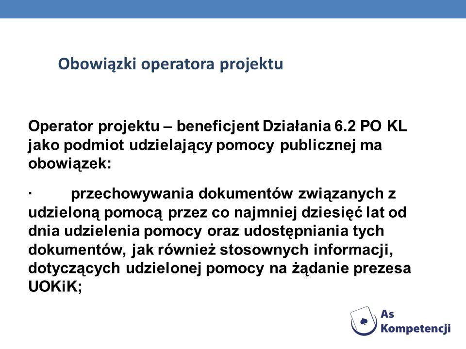 Obowiązki operatora projektu