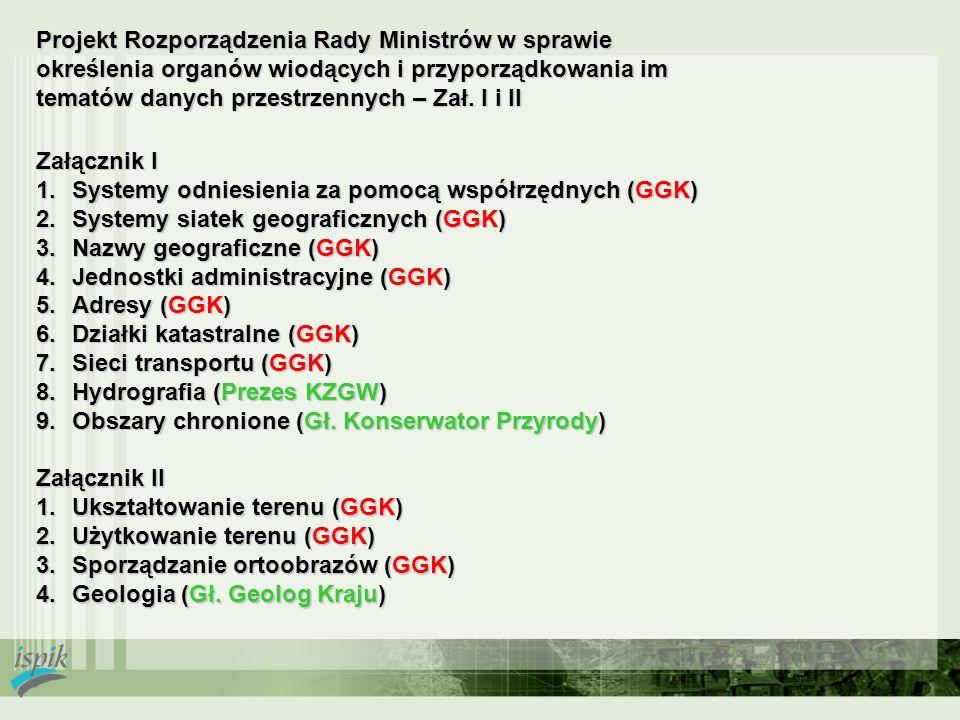 Projekt Rozporządzenia Rady Ministrów w sprawie określenia organów wiodących i przyporządkowania im tematów danych przestrzennych – Zał. I i II