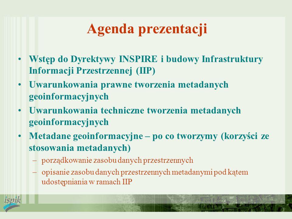 2017-03-28 Agenda prezentacji. Wstęp do Dyrektywy INSPIRE i budowy Infrastruktury Informacji Przestrzennej (IIP)