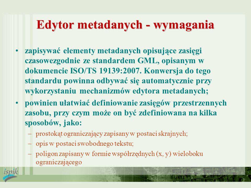 Edytor metadanych - wymagania