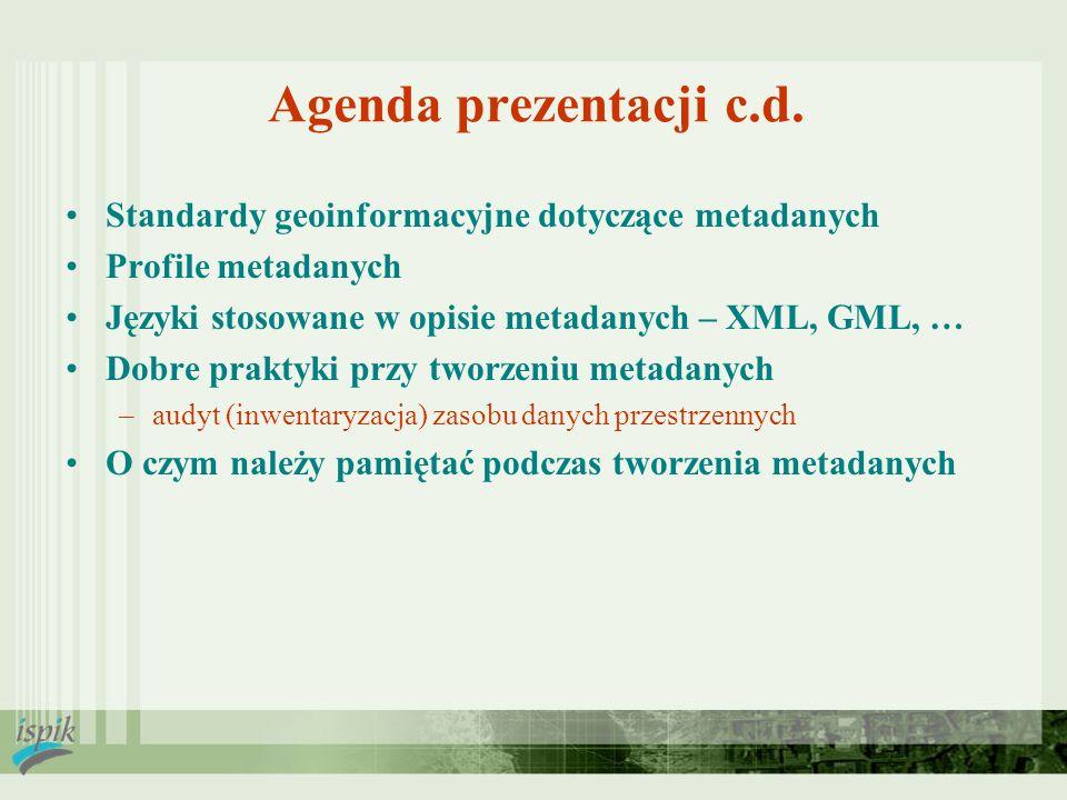 Agenda prezentacji c.d. Standardy geoinformacyjne dotyczące metadanych