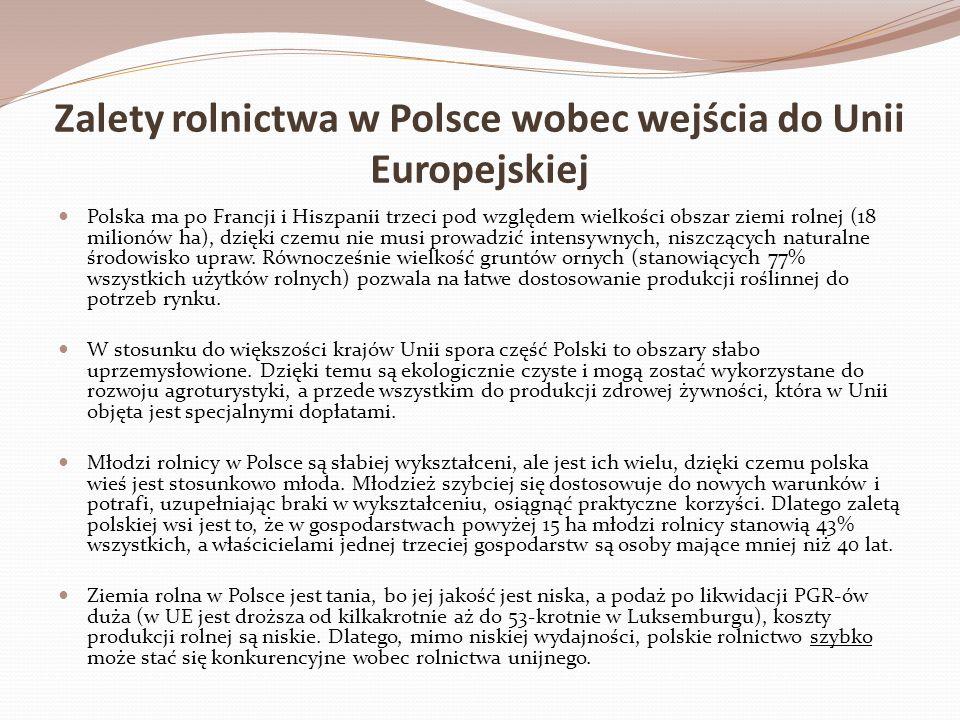 Zalety rolnictwa w Polsce wobec wejścia do Unii Europejskiej