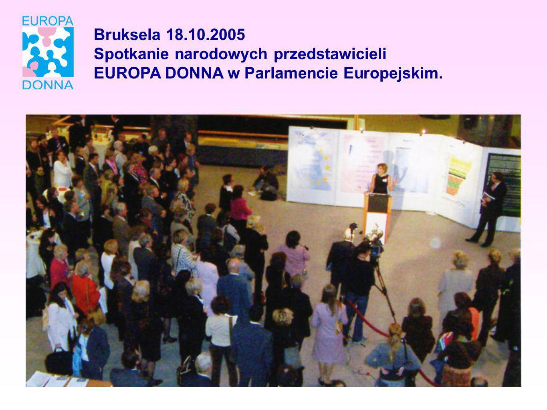 Bruksela 18.10.2005 Spotkanie narodowych przedstawicieli EUROPA DONNA w Parlamencie Europejskim.