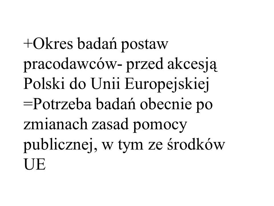 +Okres badań postaw pracodawców- przed akcesją Polski do Unii Europejskiej =Potrzeba badań obecnie po zmianach zasad pomocy publicznej, w tym ze środków UE