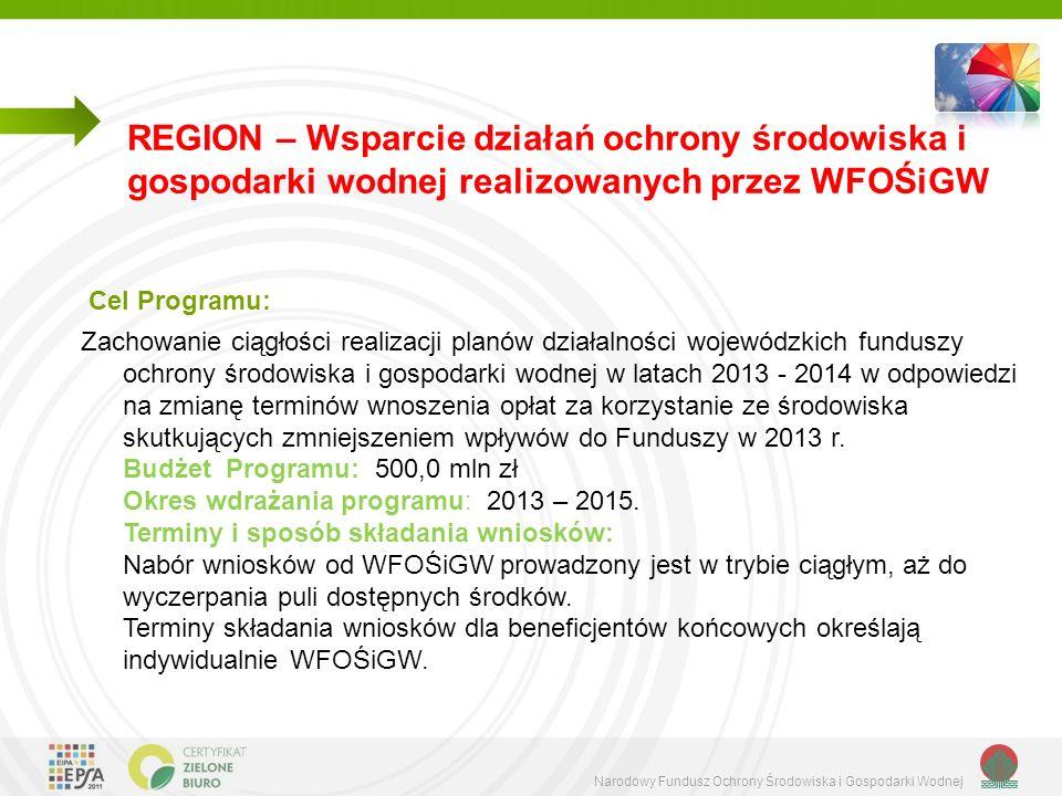 REGION – Wsparcie działań ochrony środowiska i gospodarki wodnej realizowanych przez WFOŚiGW
