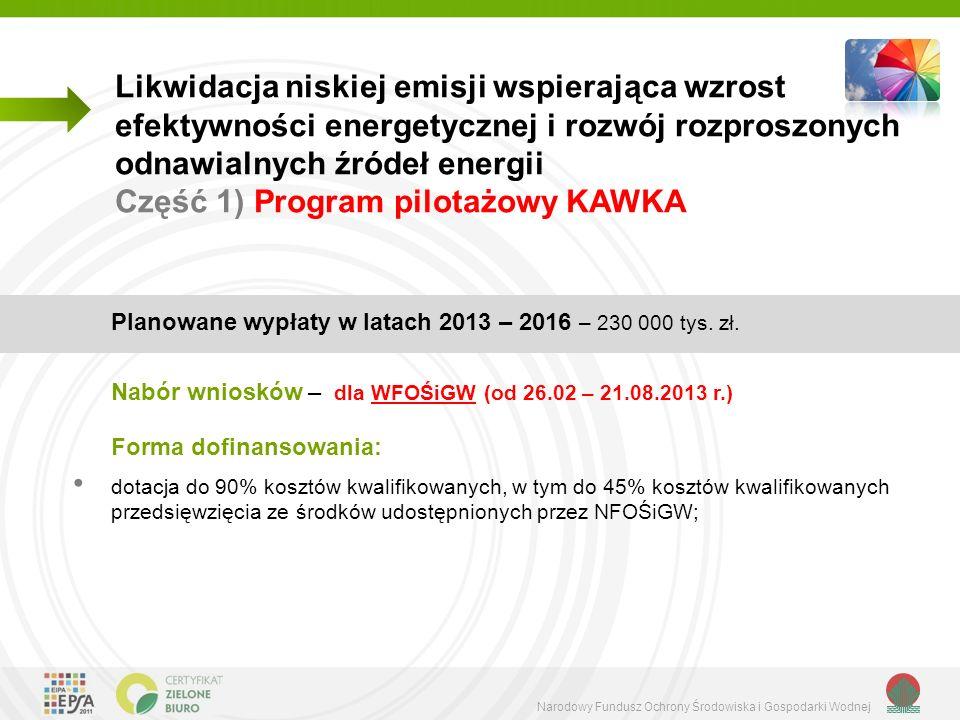 Likwidacja niskiej emisji wspierająca wzrost efektywności energetycznej i rozwój rozproszonych odnawialnych źródeł energii Część 1) Program pilotażowy KAWKA