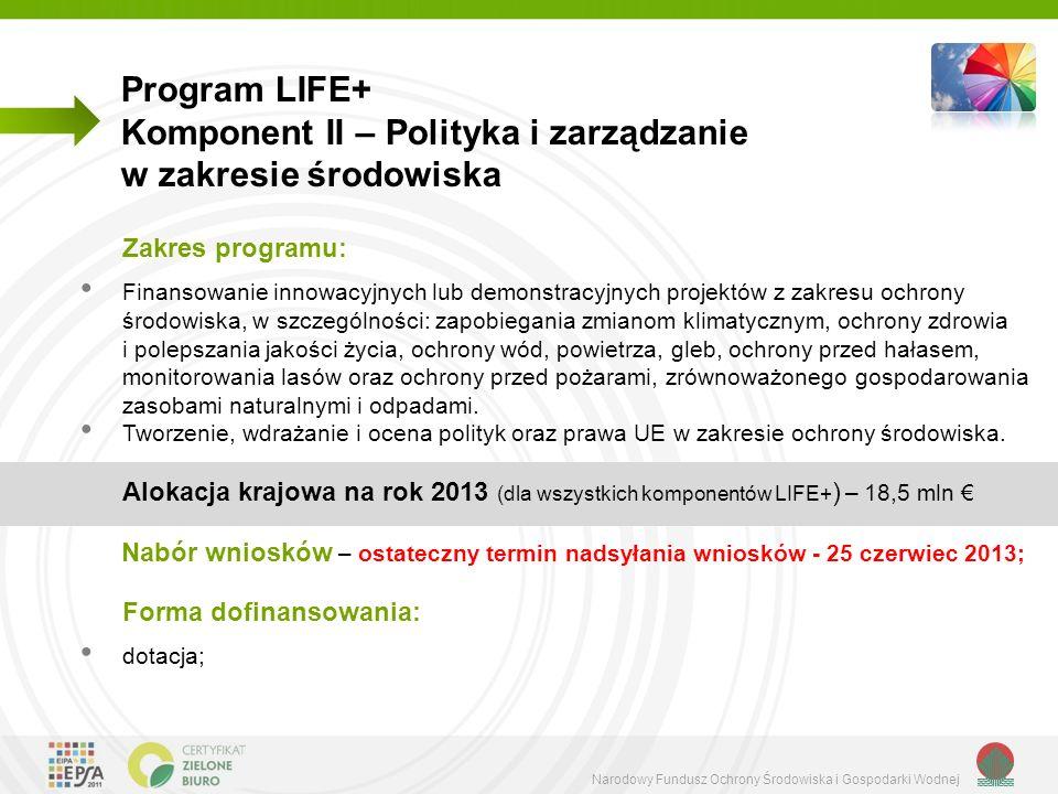 Komponent II – Polityka i zarządzanie w zakresie środowiska
