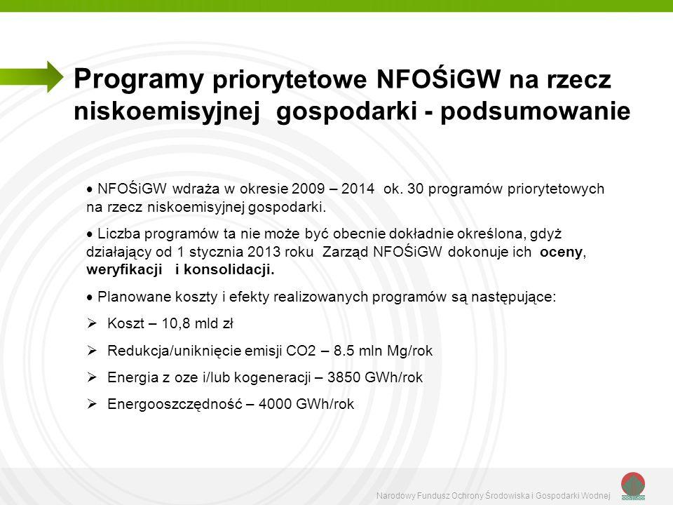 Programy priorytetowe NFOŚiGW na rzecz niskoemisyjnej gospodarki - podsumowanie