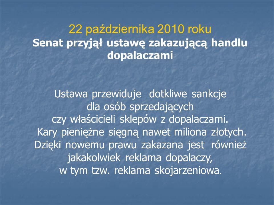 22 października 2010 roku Senat przyjął ustawę zakazującą handlu dopalaczami