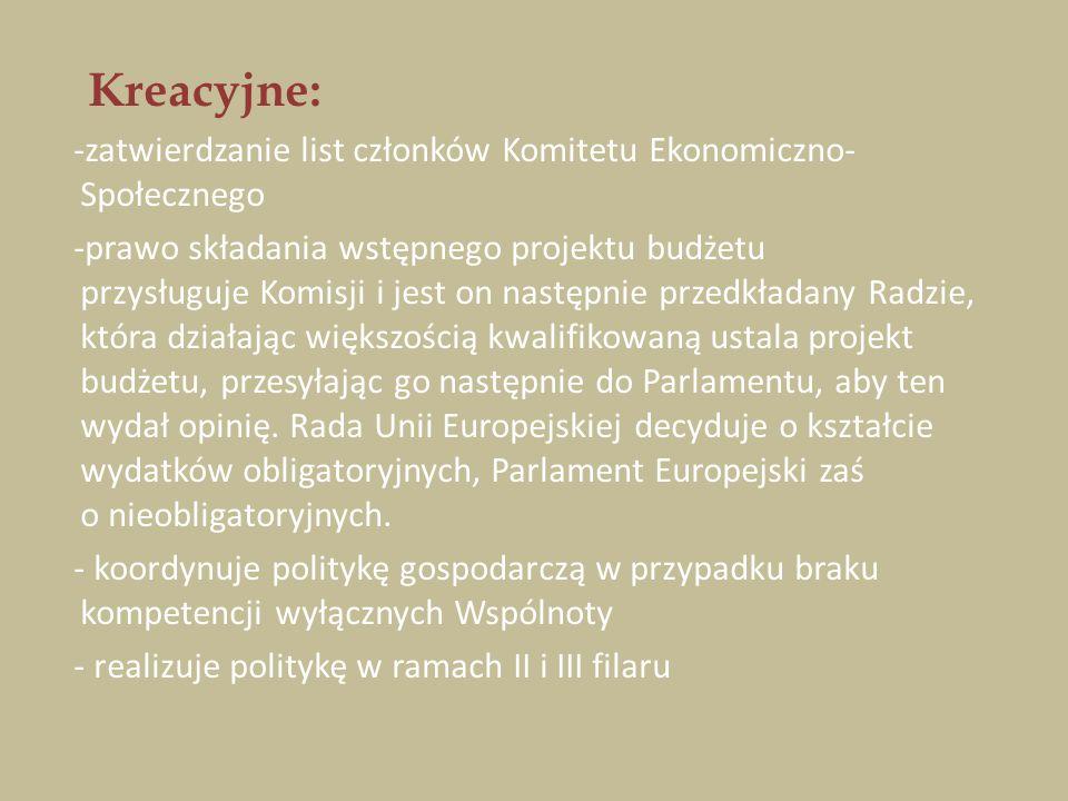 Kreacyjne: -zatwierdzanie list członków Komitetu Ekonomiczno-Społecznego.