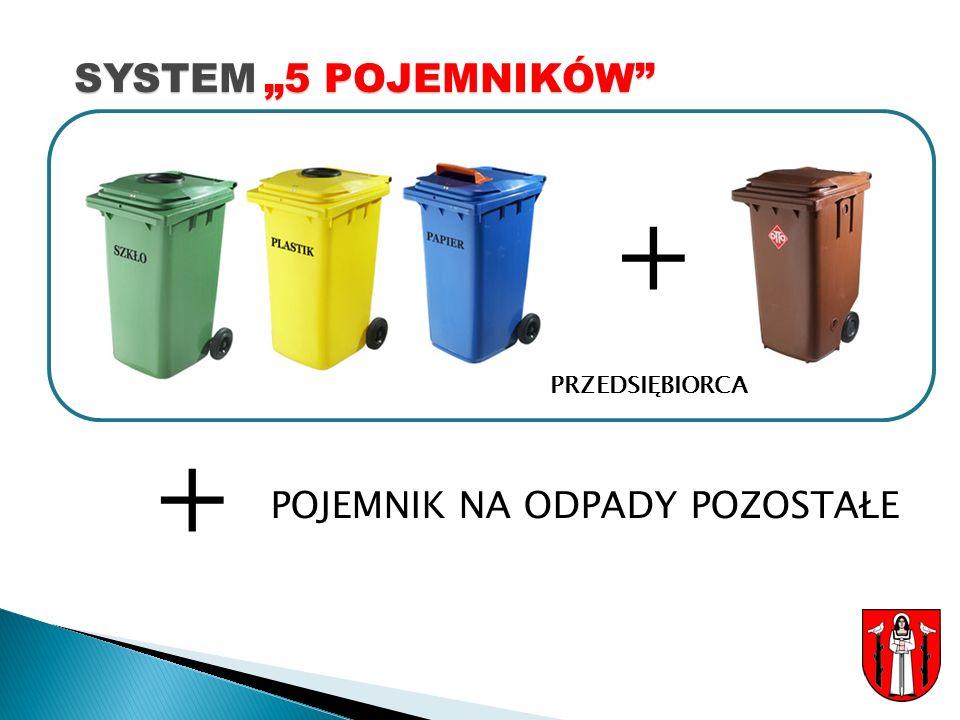 """SYSTEM """"5 POJEMNIKÓW + PRZEDSIĘBIORCA + POJEMNIK NA ODPADY POZOSTAŁE"""