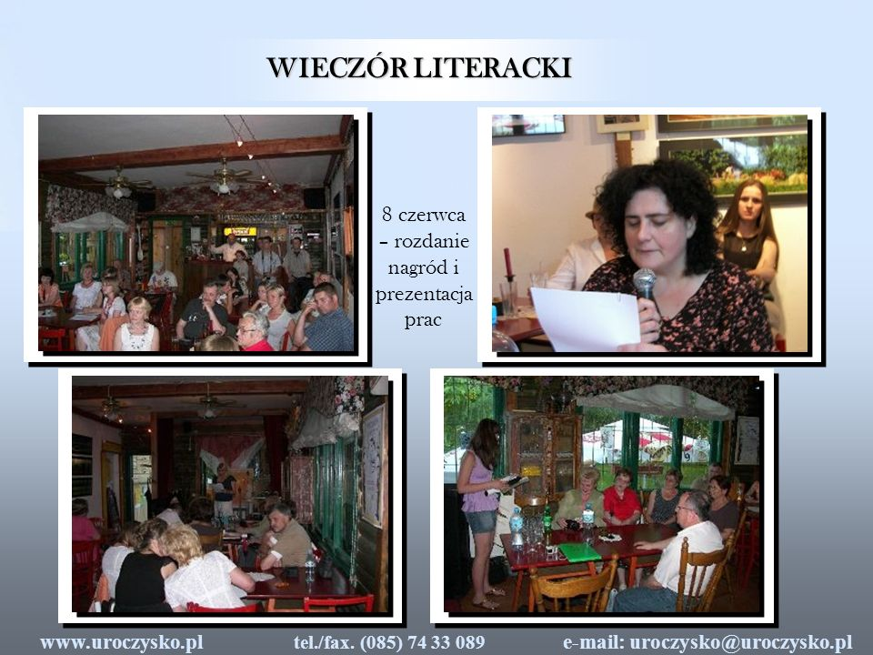 WIECZÓR LITERACKI 8 czerwca – rozdanie nagród i prezentacja prac
