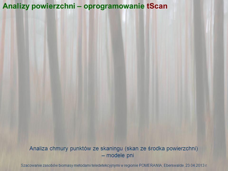 Analizy powierzchni – oprogramowanie tScan