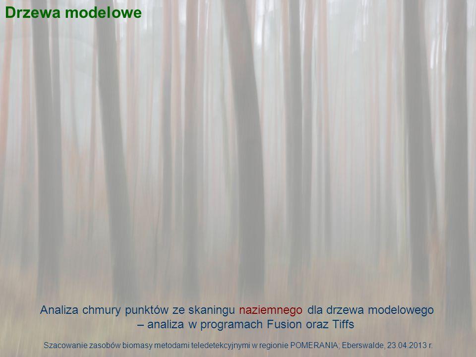 Drzewa modelowe Analiza chmury punktów ze skaningu naziemnego dla drzewa modelowego – analiza w programach Fusion oraz Tiffs.
