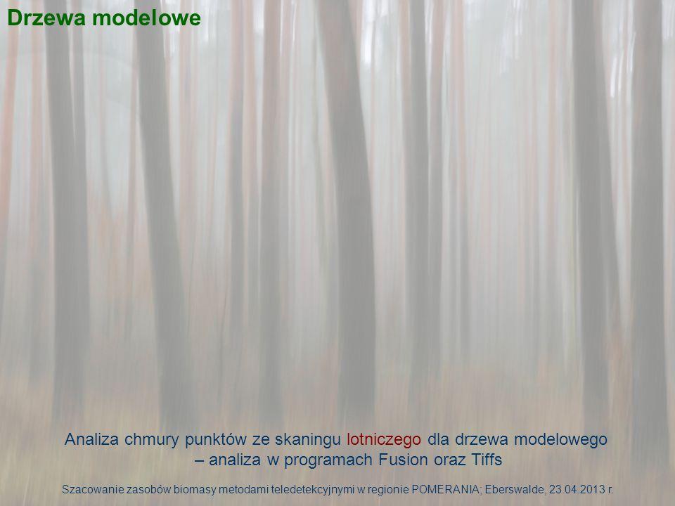 Drzewa modelowe Analiza chmury punktów ze skaningu lotniczego dla drzewa modelowego – analiza w programach Fusion oraz Tiffs.