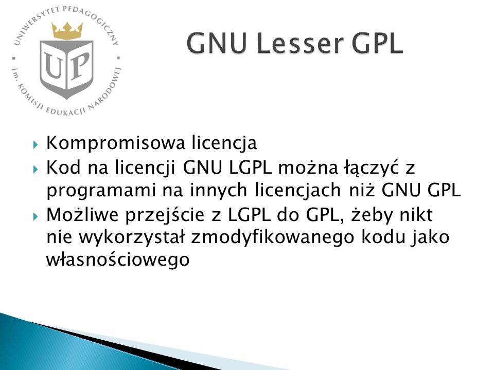 GNU Lesser GPL Kompromisowa licencja