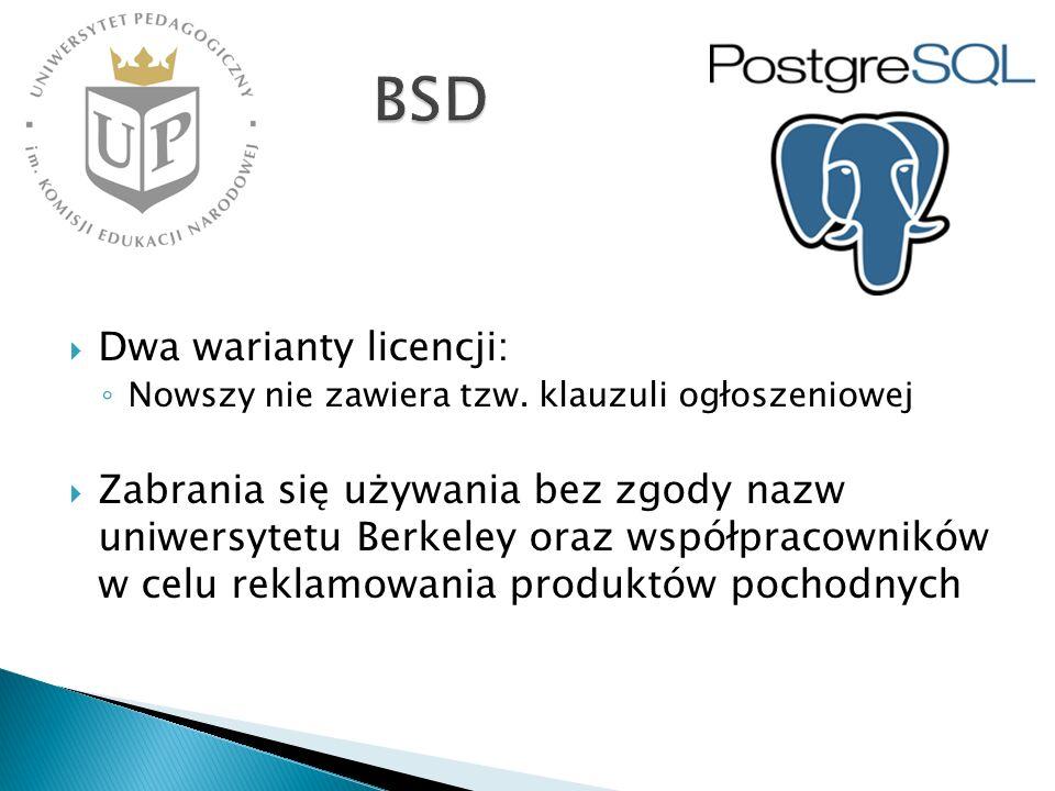 BSD Dwa warianty licencji: