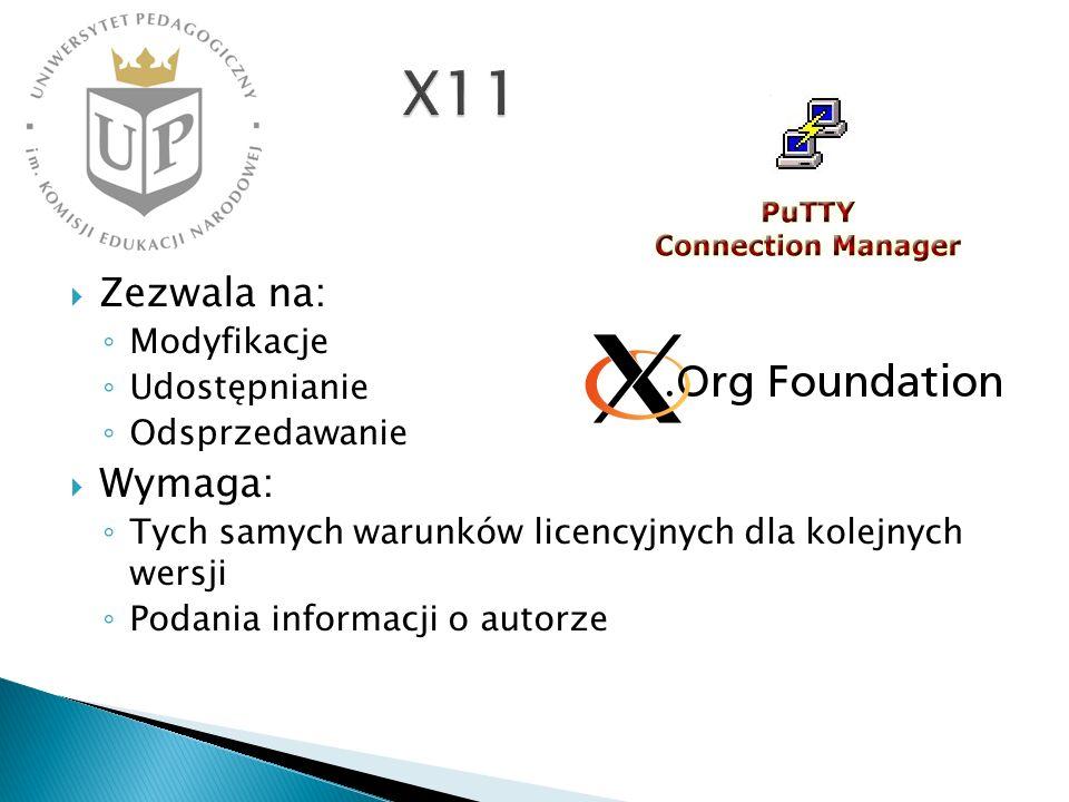 X11 Zezwala na: Wymaga: Modyfikacje Udostępnianie Odsprzedawanie