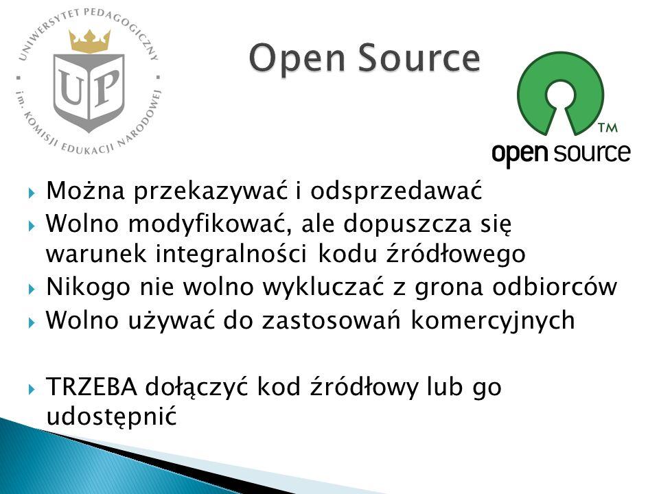 Open Source Można przekazywać i odsprzedawać