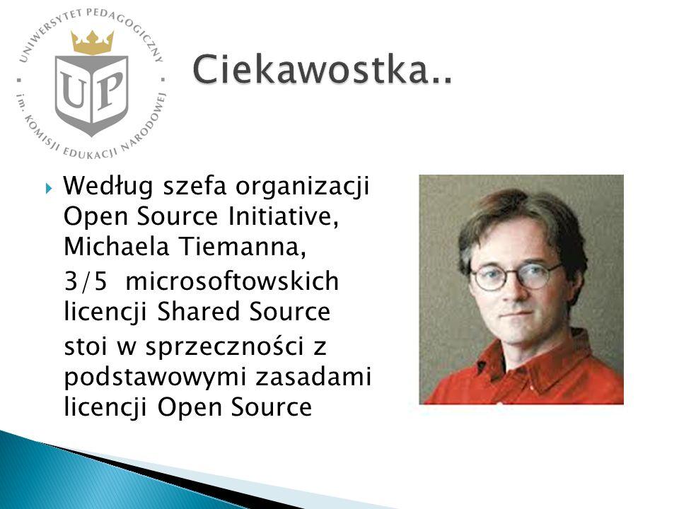 Ciekawostka.. Według szefa organizacji Open Source Initiative, Michaela Tiemanna, 3/5 microsoftowskich licencji Shared Source.