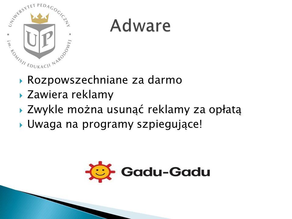 Adware Rozpowszechniane za darmo Zawiera reklamy