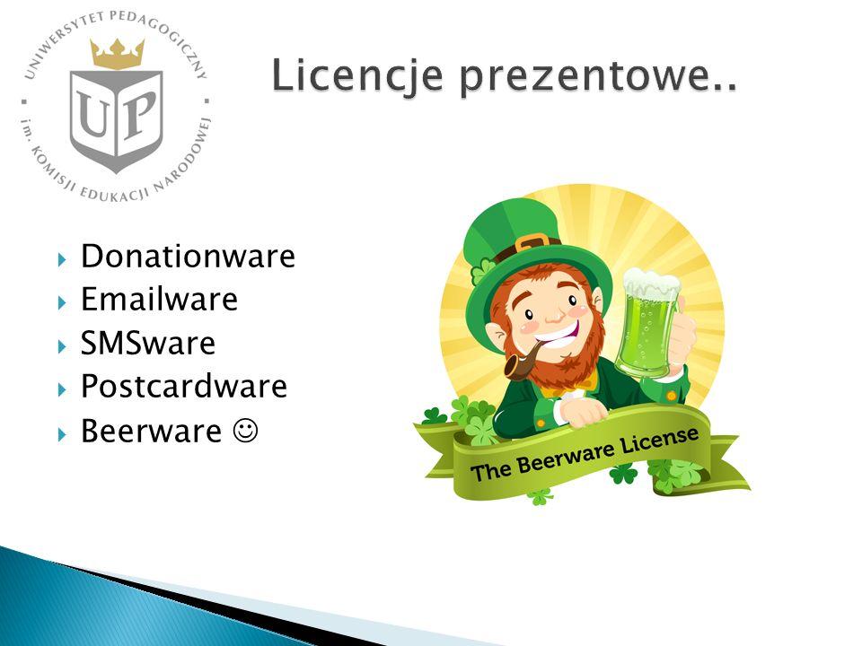 Licencje prezentowe.. Donationware Emailware SMSware Postcardware