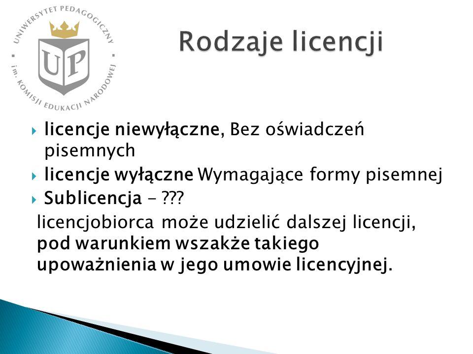 Rodzaje licencji licencje niewyłączne, Bez oświadczeń pisemnych