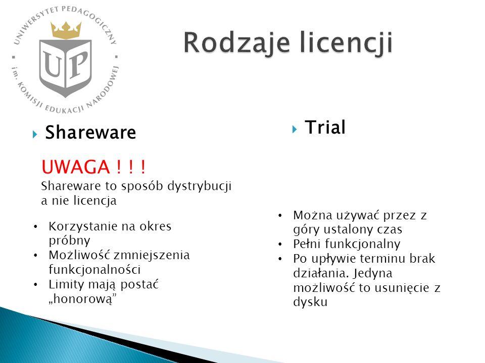 Rodzaje licencji Trial. Shareware. UWAGA ! ! ! Shareware to sposób dystrybucji a nie licencja. Można używać przez z góry ustalony czas.