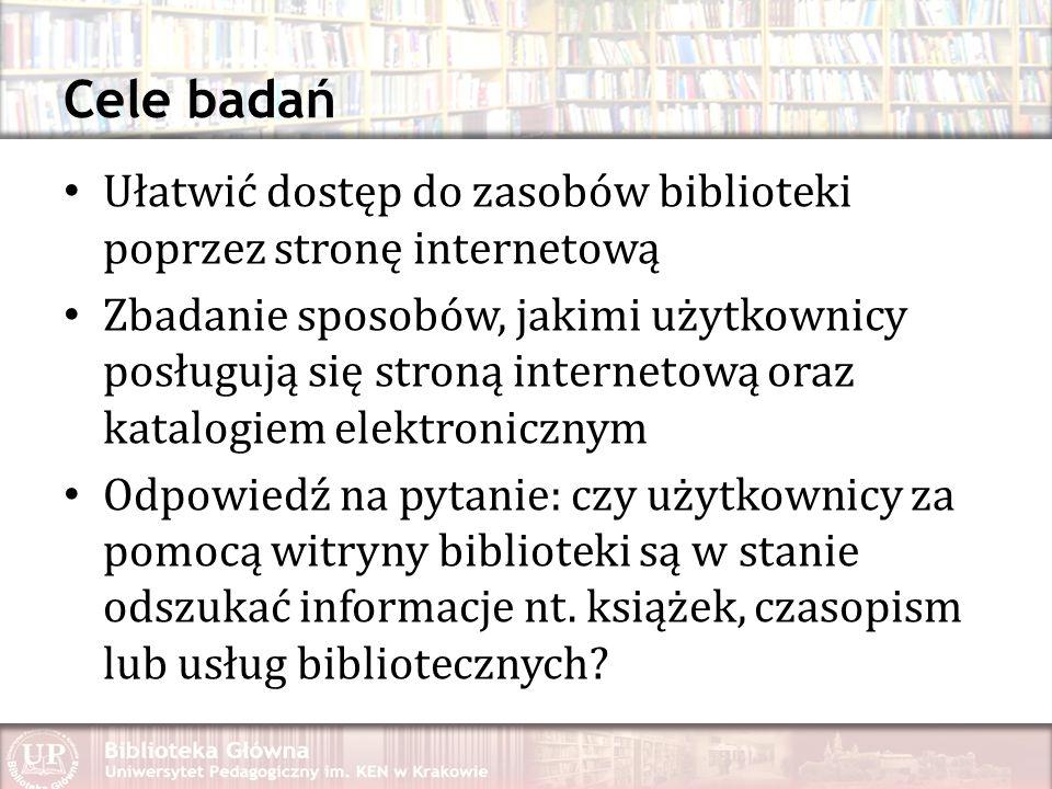 Cele badań Ułatwić dostęp do zasobów biblioteki poprzez stronę internetową.