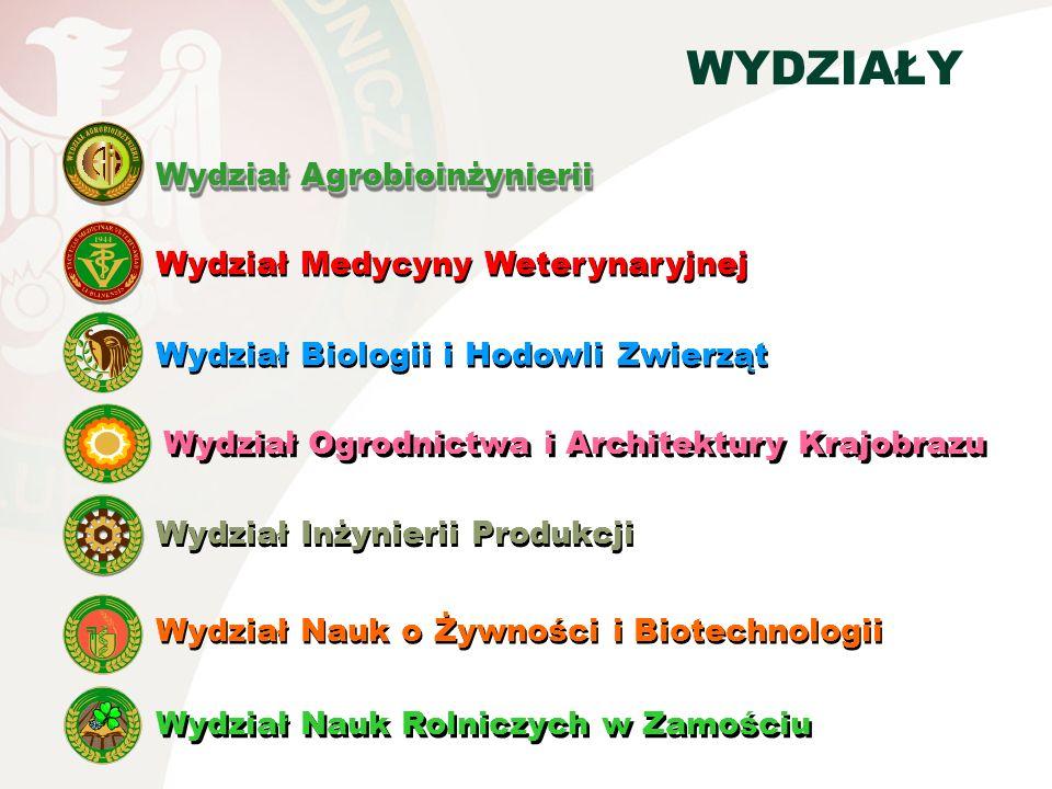 WYDZIAŁY Wydział Agrobioinżynierii Wydział Medycyny Weterynaryjnej